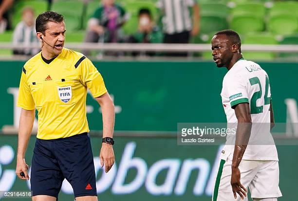 Roland Lamah of Ferencvarosi TC looks angry at referee Viktor Kassai during the OTP Bank League football match between Ferencvarosi TC and Ujpest FC...