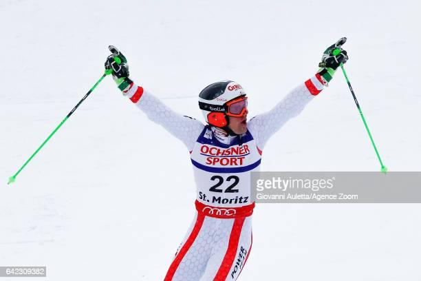 Roland Leitinger of Austria wins the silver medal during the FIS Alpine Ski World Championships Men's Giant Slalom on February 17 2017 in St Moritz...