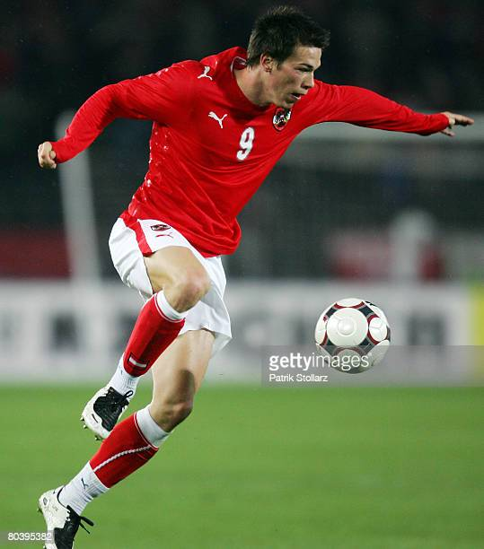 Roland Linz of Austria runs with the ball during the international friendly match between Austria and Netherlands at the Ernst Happel stadium on...