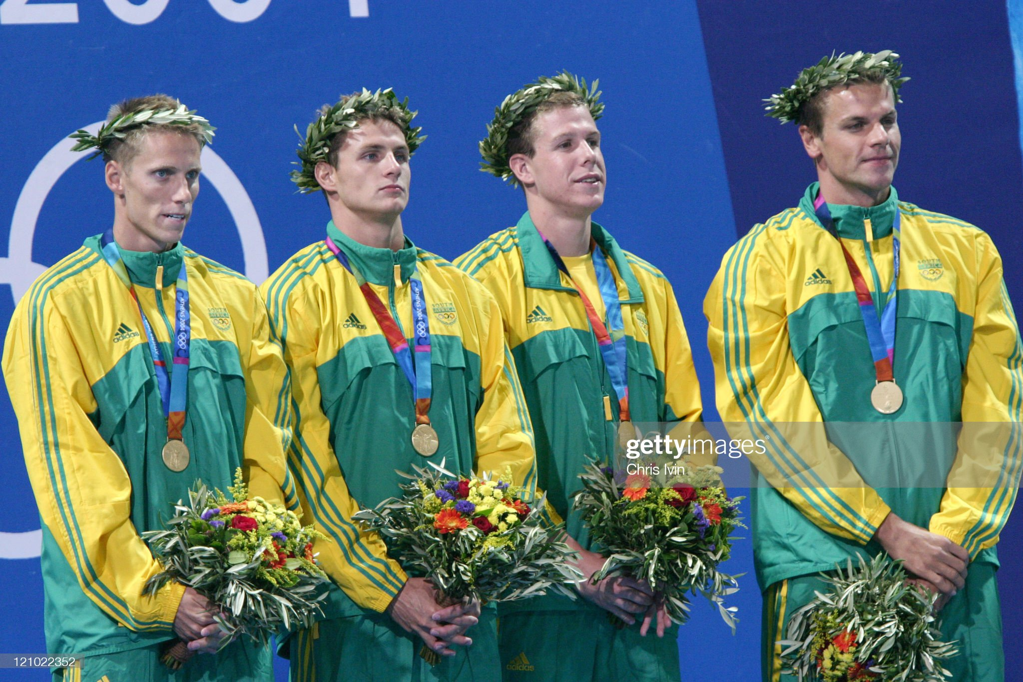 Athens 2004 Olympic Games - Day 2 - Swimming - Men's 4X100 Freestyle Relay Final : Fotografía de noticias