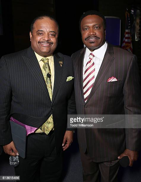 Roland Martin and Bishop Kenneth Ulmer attend the Inform Your Vote President Election Debate at The Tabernacle on October 8 2016 in Inglewood...