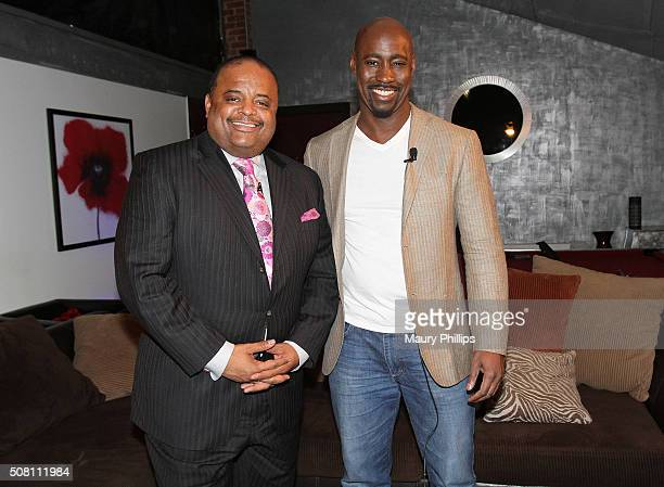 Roland Martin and DB Woodside attend 'News One Now' with Roland Martin taping on February 2 2016 in Hollywood California