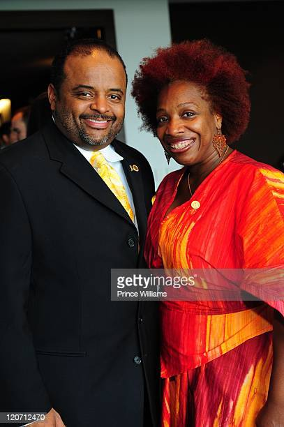 Roland Martin and Lisa Nichols attend the 2011 Table Of Brotherhood Tour launch at Morehouse College Martin Luther King Jr Chapel on August 6 2011 in...