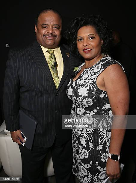 Roland Martin and Moderator Tara Wall attend the Inform Your Vote President Election Debate at The Tabernacle on October 8 2016 in Inglewood...