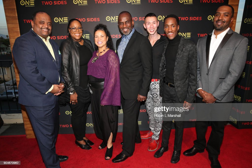 Roland Martin, D'Angela Proctor, Melina Abdullah, Julius Tennon, Andrew T. Wang, Lemuel Plummer and Jason Tolbert attend the NAACP Screening and Social Justice Summit for TV One's 'Two Sides' at First AME Church on January 13, 2018 in Los Angeles, California.