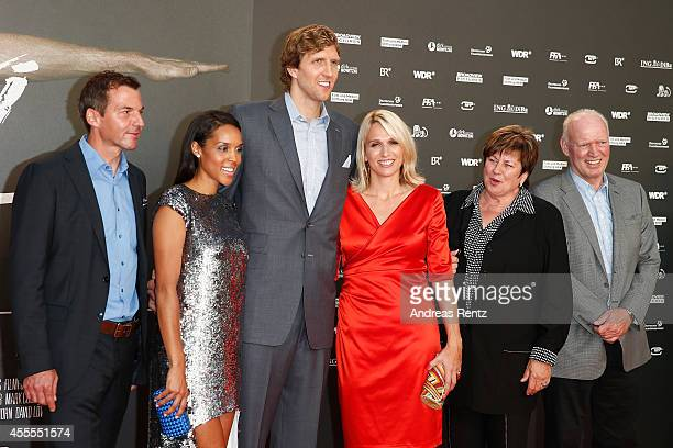 Roland Mayer Jessica Nowitzki Dirk Nowitzki Silke Nowitzki Helga Nowitzki and JoergWerner Nowitzki attend the premiere of the film 'Nowitzki Der...