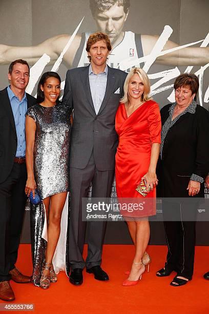 Roland Mayer Jessica Nowitzki with Dirk Nowitzki sister Silke Nowitzki and mother Helga Nowitzki attend the premiere of the film 'Nowitzki Der...