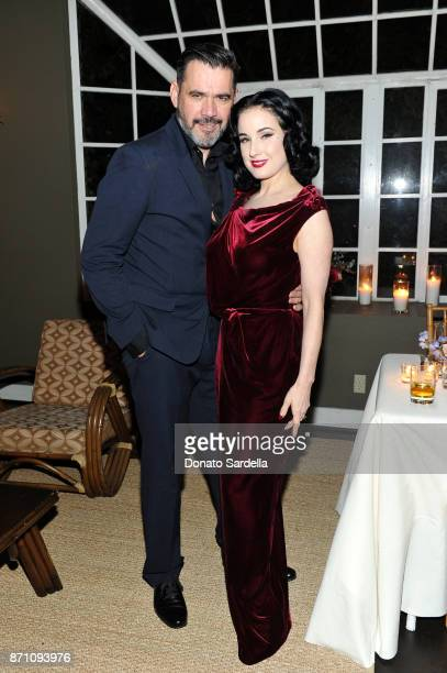 Roland Mouret and Dita Von Teese attend Roland Mouret's The Dinner of Love in LA at Chateau Marmont on November 6 2017 in Los Angeles California