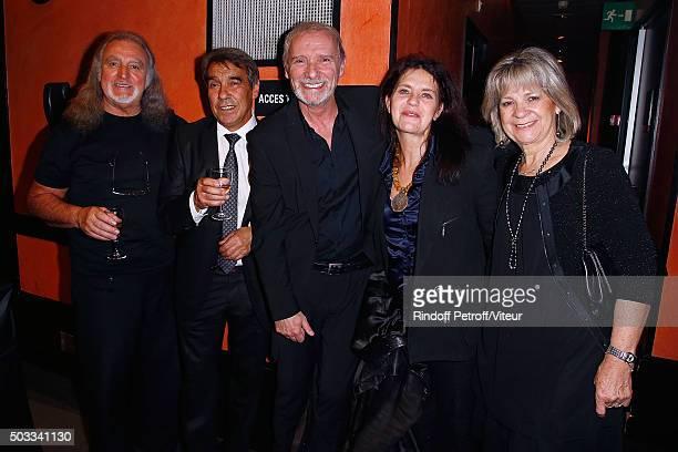 Roland Romanelli Nonou Gerra Geoffroy Thiebaut Fanny Bastien and Nicole Gerra attend the Laurent Gerra One Man Show at L'Olympia on December 29 2015...