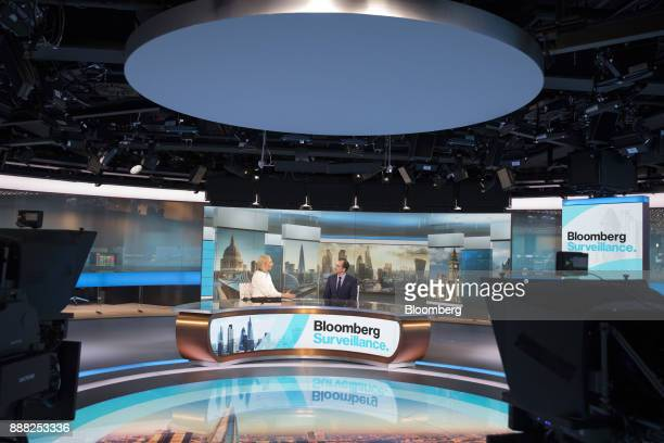 Roland Rudd chairman of RLM Finsbury LLC right speaks during a Bloomberg Television interview with Francine Lacqua anchor for Bloomberg Television in...