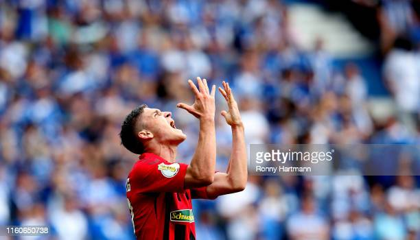 Roland Sallai of Freiburg reacts during the DFB Cup first round match between 1. FC Magdeburg and SC Freiburg at MDCC Arena on August 10, 2019 in...