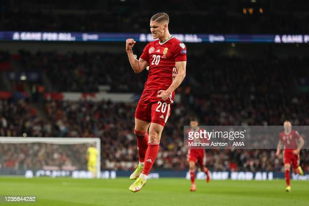 Roland Sallai of Hungary celebrates after scoring a goal to make it 0-1 during the 2022 FIFA World Cup Qualifier match between England and Hungary at...