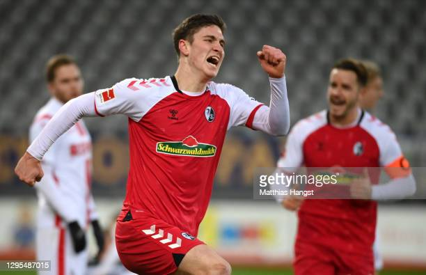 Roland Sallai of Sport-Club Freiburg celebrates after scoring his team's third goal during the Bundesliga match between Sport-Club Freiburg and 1. FC...