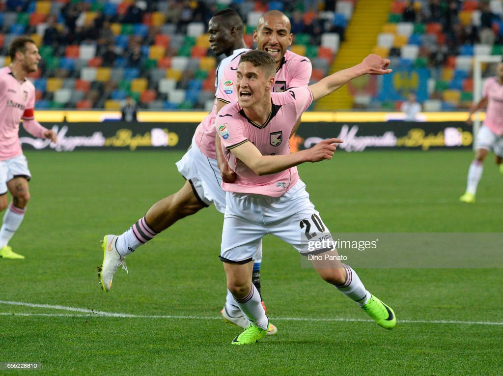 Roland Sallai (R) of US Citta di Palermo celebrates after scoring his opening goal during the Serie A match between Udinese Calcio and US Citta di Palermo at Stadio Friuli on March 19, 2017 in Udine, Italy.