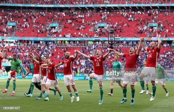 Roland Sallai, Tamas Cseri, Andras Schaefer, Nemanja Nikolic and Gergo Lovrencsics of Hungary celebrate in front of the fans following the UEFA Euro...