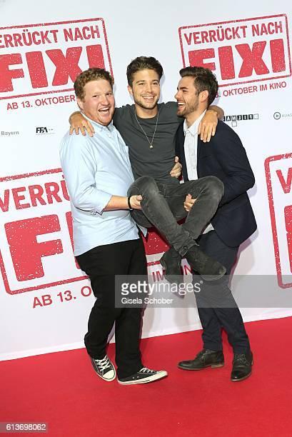Roland Schreglmann, Jascha Rust and Lucas Reiber during the premiere of the film 'Verrueckt nach Fixi' at Mathaeser Kino on October 9, 2016 in...