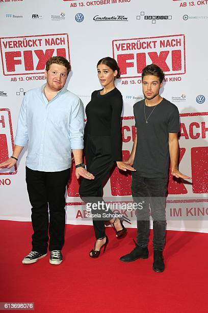 Roland Schreglmann, Lisa Tomaschewsky and Jascha Rust during the premiere of the film 'Verrueckt nach Fixi' at Mathaeser Kino on October 9, 2016 in...