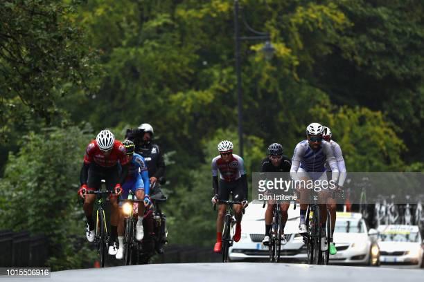 Roland Thalmann of Switzerland, Polychronis Tzortzakis of Greece, Robert-Jon McCarthy of Ireland and others ride in the lead breakaway in the Men's...