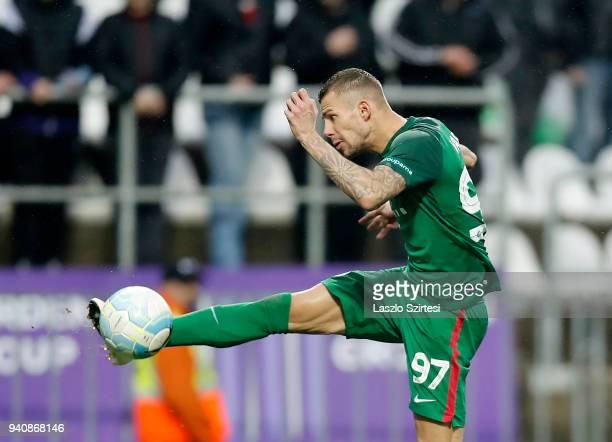Roland Varga of Ferencvarosi TC controls the ball during the Hungarian OTP Bank Liga match between Ujpest FC and Ferencvarosi TC at Ferenc Szusza...