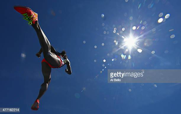 Rolanda Bell of Panama leaps over the water jump during the Women's 3000m Steeplechase at the Adidas Grand Prix at Icahn Stadium on Randall's Island...