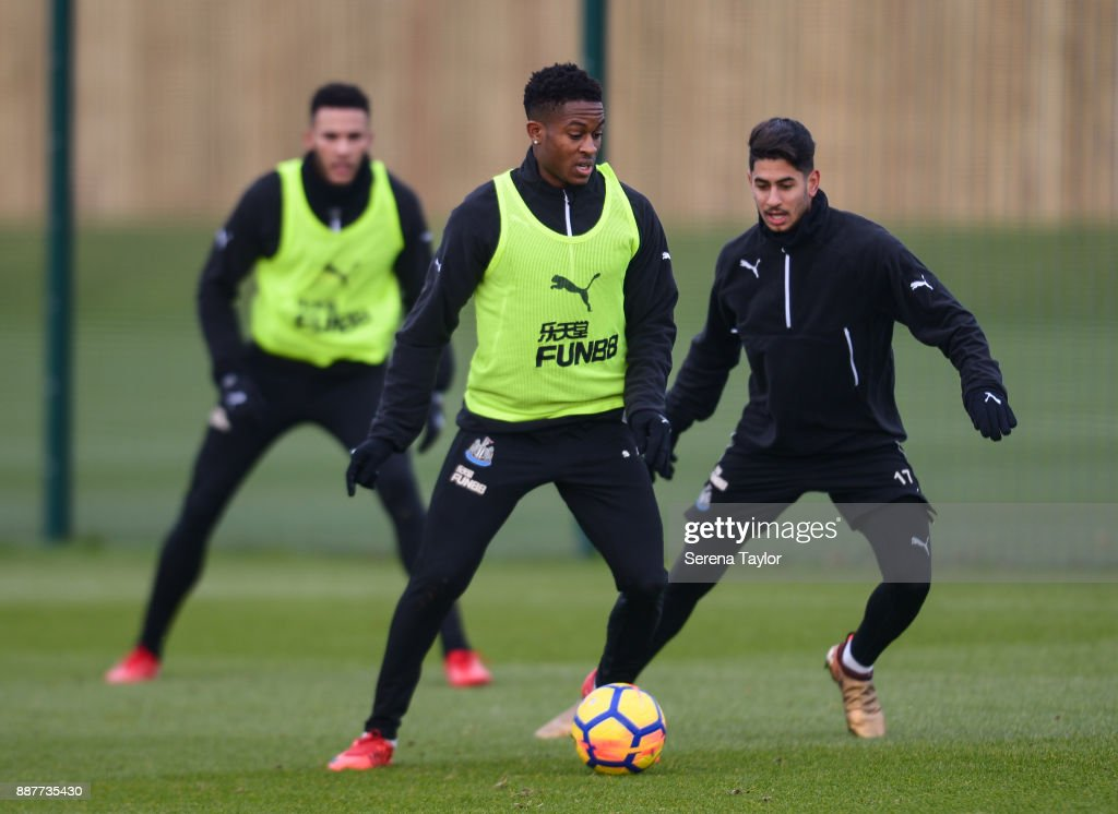 Rolando Aarons controls the ball during a Newcastle United training session at the Newcastle United Training Centre on December 7, 2017, in Newcastle upon Tyne, England.