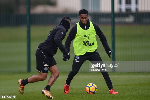 Rolando Aarons controls the ball whilst DeAndre Yedlin defends during a Newcastle United training session at the Newcastle United Training Centre on...