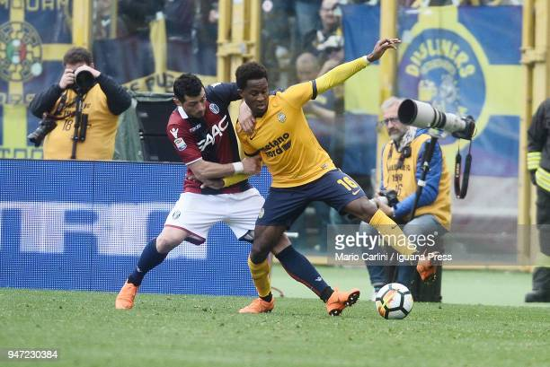 Rolando Aarons of Hellas Verona FC in action during the serie A match between Bologna FC and Hellas Verona FC at Stadio Renato Dall'Ara on April 15...