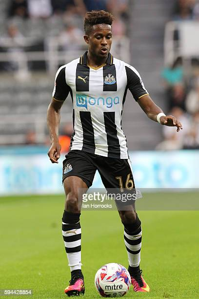 Rolando Aarons of Newcastle during the EFL Cup second round match between Newcastle United and Cheltenham Town at St James Park on August 23 2016 in...