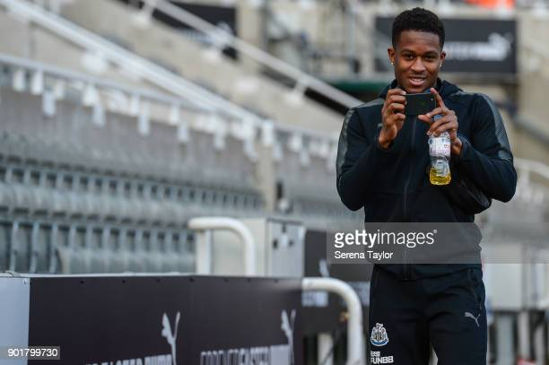 Rolando Aarons of Newcastle United arrives for the Emirates FA Cup Third Round between Newcastle United and Luton Town at StJames' Park on January 6...