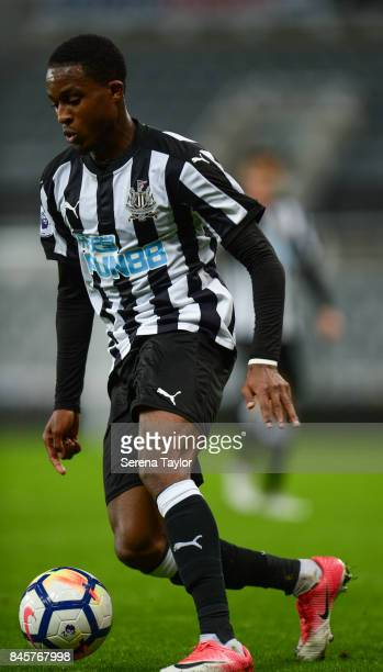 Rolando Aarons of Newcastle United controls the ball during the Premier League 2 match between Newcastle United and Norwich City at StJames' Park on...