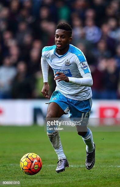 Rolando Aarons of Newcastle United controls the ball during the Barclays Premier League match between Watford and Newcastle at Vicarage Road on...