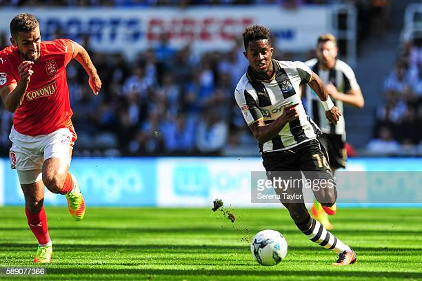 Rolando Aarons of Newcastle United controls the ball during the Sky Bet Championship match between Newcastle United and Huddersfield Town at StJames...