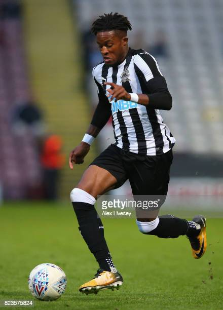 Rolando Aarons of Newcastle United during a preseason friendly match between Bradford City and Newcastle United at Northern Commercials Stadium on...