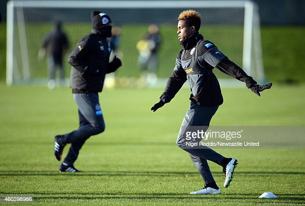 Rolando Aarons of Newcastle United during a training session at The Newcastle United Training Centre on December 11 2014 in Newcastle upon Tyne...