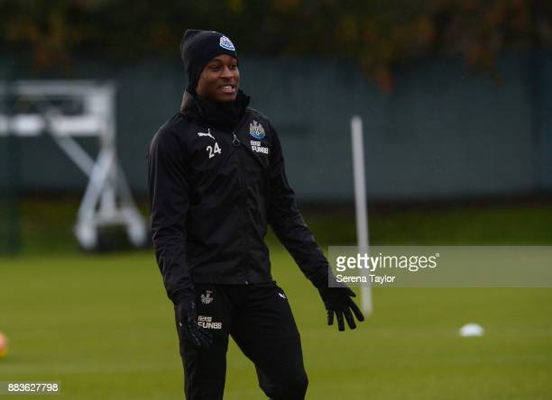 Rolando Aarons of Newcastle United gestures during the Newcastle United training session at the Newcastle United Training Centre on December 1 in...