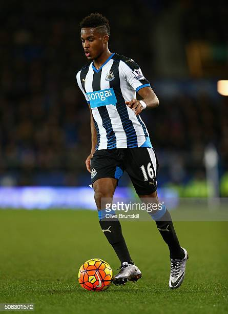 Rolando Aarons of Newcastle United in action during the Barclays Premier League match between Everton and Newcastle United at Goodison Park on...