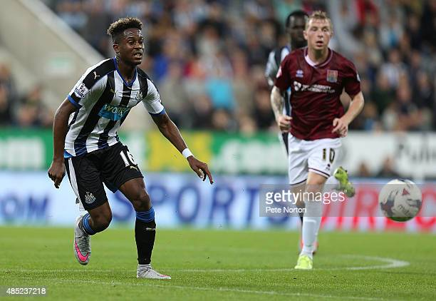 Rolando Aarons of Newcastle United in action during the Capital One Cup Second Round between Newcastle United and Northampton Town at St James' Park...
