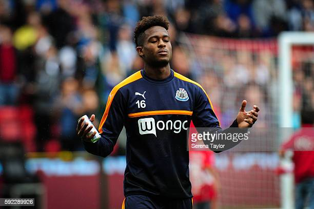 Rolando Aarons of Newcastle United prays as he walks across the pitch during the Sky Bet Championship Match between Bristol City and Newcastle United...