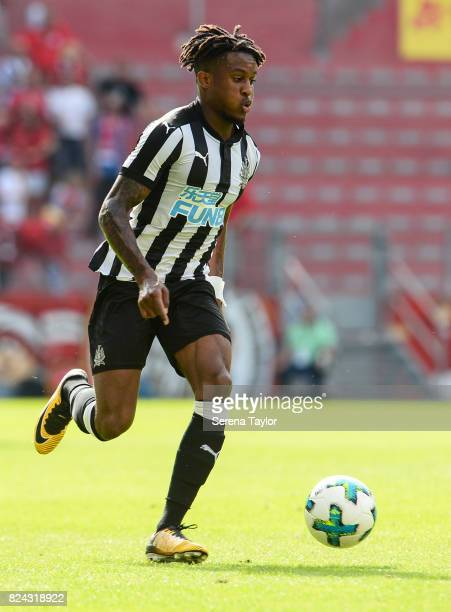 Rolando Aarons of Newcastle United runs with the ball during the Pre Season Friendly match between FSV Mainz 05 and Newcastle United at Opel Arena on...