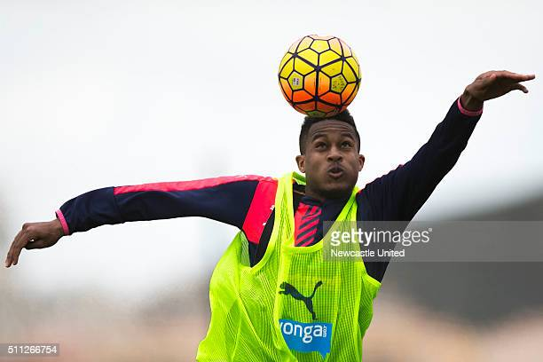 Rolando Aarons of Newcastle United saves on a header during a Newcastle United Training session at the the Newcastle United training camp on February...