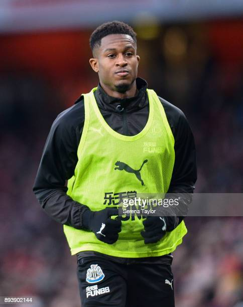 Rolando Aarons of Newcastle United warms up during the Premier League match between Arsenal and Newcastle United at the Emirates Stadium on December...