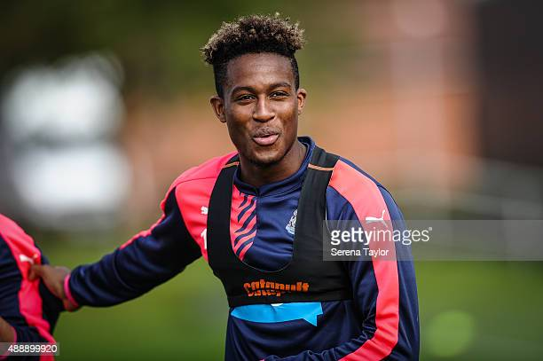 Rolando Aarons smiles during the Newcastle United Training session at The Newcastle United Training Centre on September 18 in Newcastle upon Tyne...