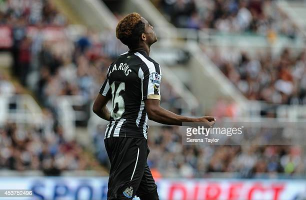 Rolando Arrons of Newcastle makes his first team debut during the Barclays Premier League match between Newcastle United and Manchester City at...