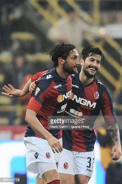 Rolando Bianchi of Bologna FC celebrates after scoring a goal with his teamate Panagiotis Kone of Bologna FC during the Serie A Bologna FC and SSC...