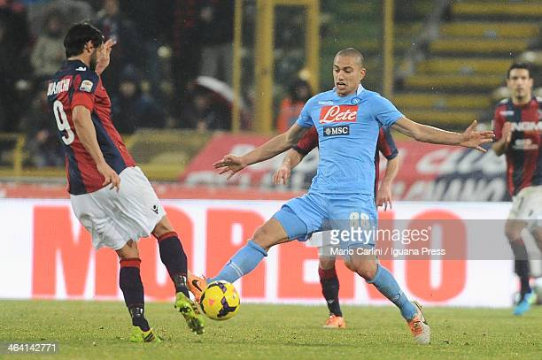 Rolando Bianchi of Bologna FC competes the ball with Gokhan Inler of SSC Napoli during the Serie A Bologna FC and SSC Napoli at Stadio Renato...