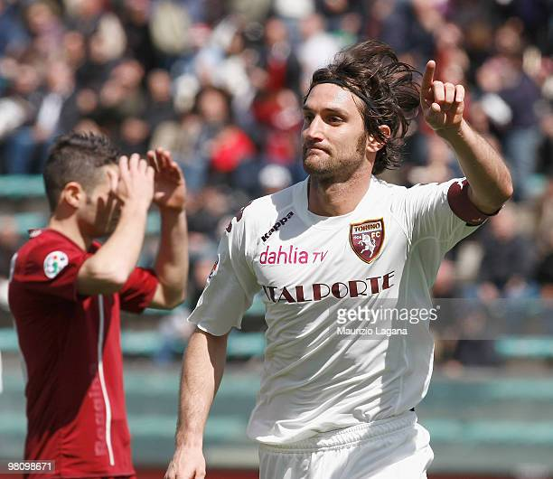 Rolando Bianchi of Torino FC celebrates scoring Torino's first goal during the Serie B match between Reggina Calcio and Torino FC at Stadio Oreste...
