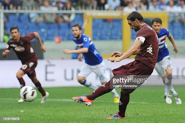 Rolando Bianchi of Torino FC scores the opening goal from the penalty spot during the Serie A match between UC Sampdoria and Torino FC at Stadio...