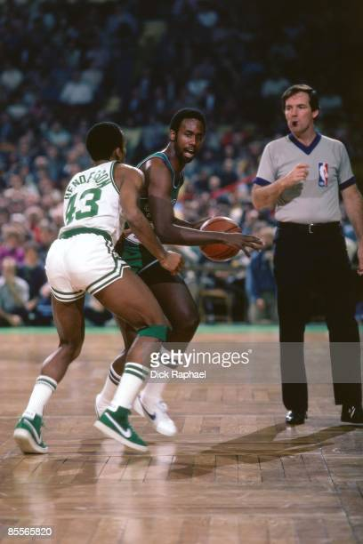 Rolando Blackman of the Dallas Mavericks moves the ball against Gerald Henderson of the Boston Celtics during a game played in 1981 at the Boston...
