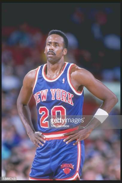 Rolando Blackman of the New York Knicks stands on the court during a game against the Denver Nuggets at the McNichols Sports Arena in Denver Colorado...
