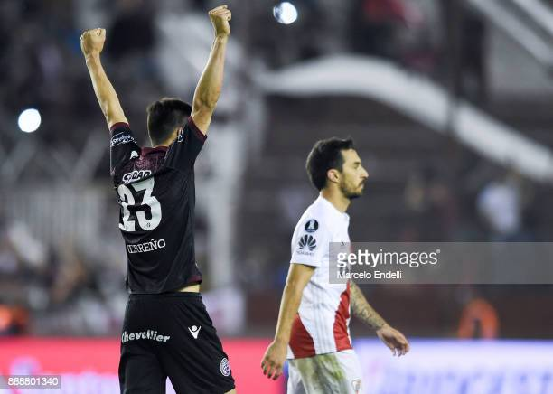 Rolando Garcia of Lanus celebrates after winning a second leg match between Lanus and River Plate as part of the semifinals of Copa CONMEBOL...